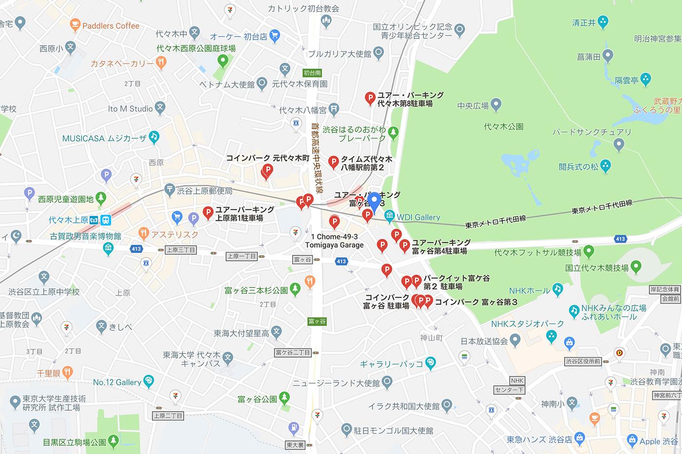 代々木八幡駅のコインパーキングマップ