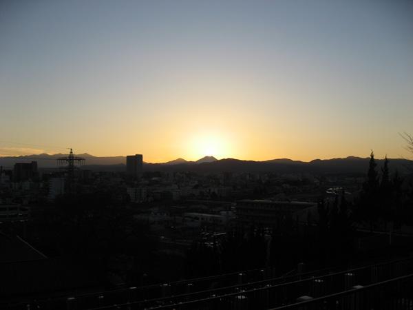 富士に落ちる陽