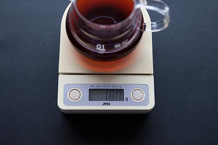コーヒーは180mlで抽出完了